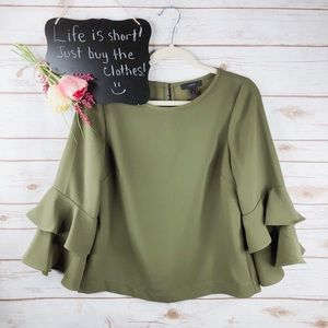 J. Crew green Lana tiered 3/4 bell sleeves top